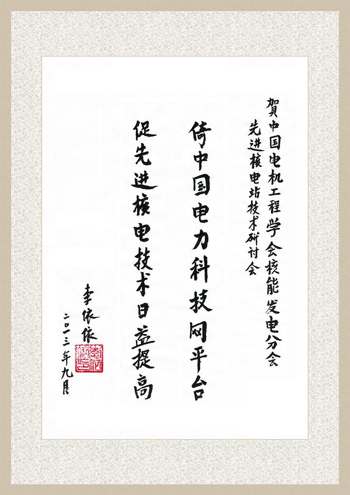 李依依院士为中国电力科技网题词