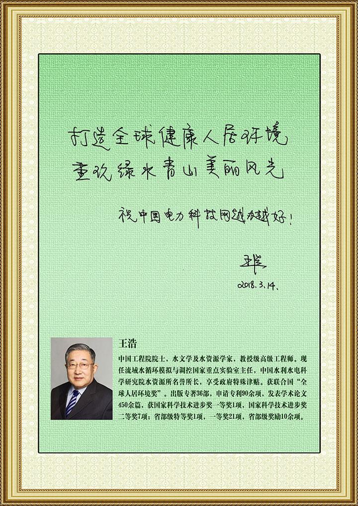 王浩院士为中国电力科技网题词