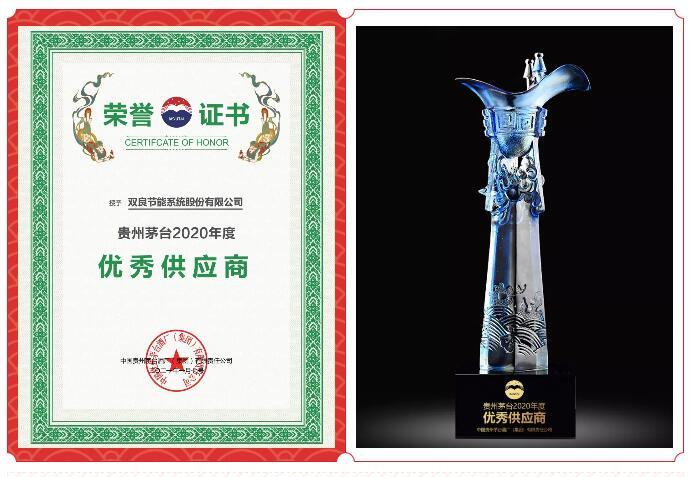 合作共赢!双良节能荣获贵州茅台2020年度优秀供应商奖